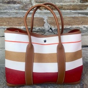 Authentic Hermès Garden Party Striped Summer Tote